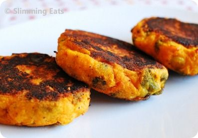 Sweet Potato, Broccoli & Cheddar Patties: 1 large sweet potato, 2 c broccoli, 2 oz cheddar cheese, salt & pepper. Bake sweet potato in oven until soft. Scoop out potato into bowl. Chop up broccoli, mix in potato, add cheddar cheese, salt & pepper. Make 6 patties. Add oil to pan, bake at 400 for 30-40 minutes, turning halfway.