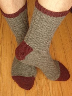 Basic Toe-Up Socks by Jesse Loesberg knit in a 4ply fingering yarn ~ FREE pattern download via Ravelry