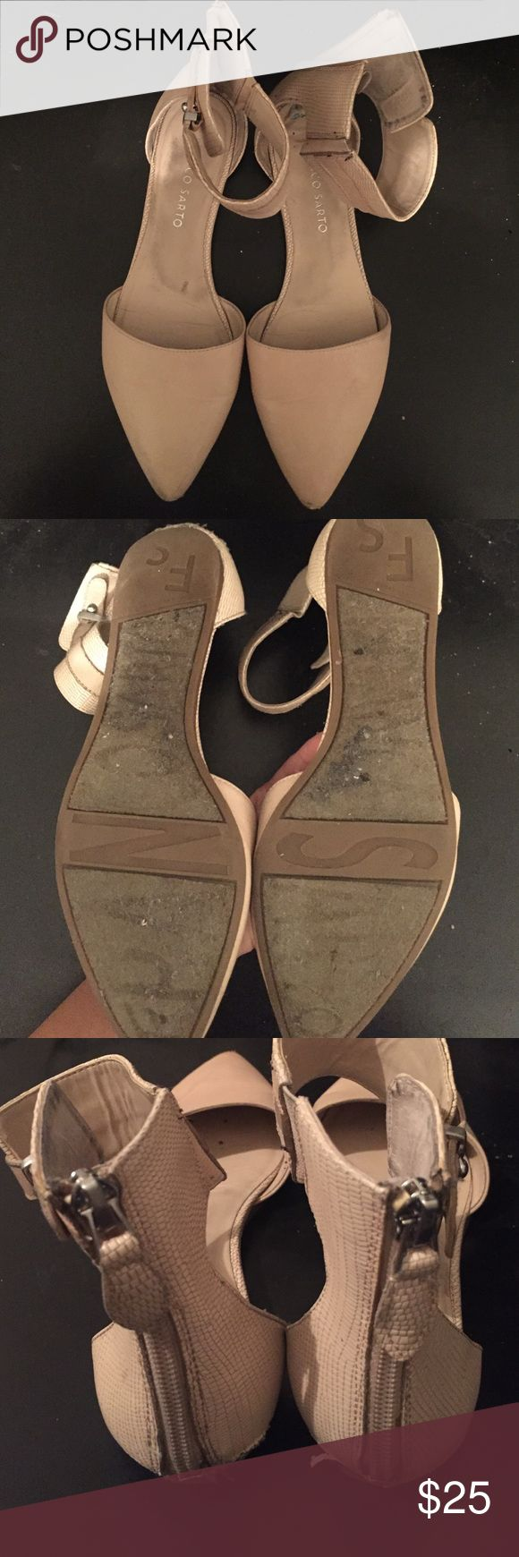 Pink/nude zip up flats Very comfortable- scuffing at tip of shoe Franco Sarto Shoes Flats & Loafers
