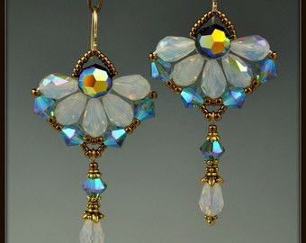 Kralen kralen Bangle Crystal bloem oorbellen door beadedartjewelry