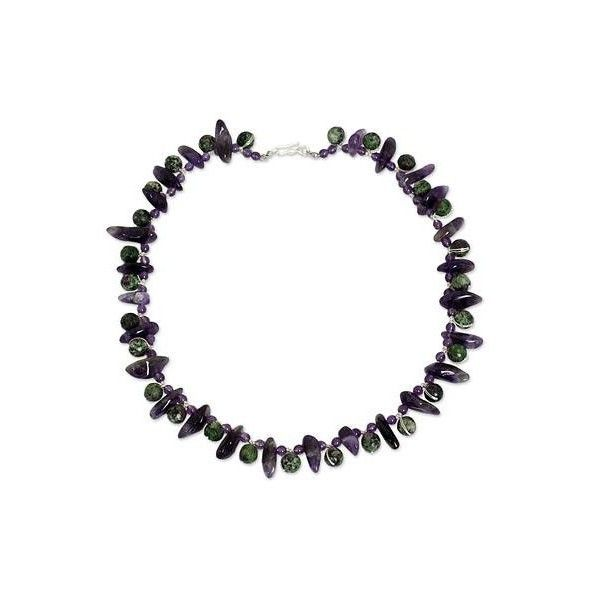 NOVICA Handmade Beaded Amethyst and Ruby Zoisite Necklace ($56) ❤ liked on Polyvore featuring jewelry, necklaces, amethyst, beaded, clothing & accessories, multicolor necklace, knotted bead necklace, multi coloured necklace, ruby beads necklace and multi color necklace