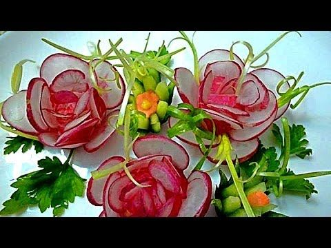 Цветы из лука. Украшения из овощей. Decoration Of Vegetables - YouTube TUTORIAL