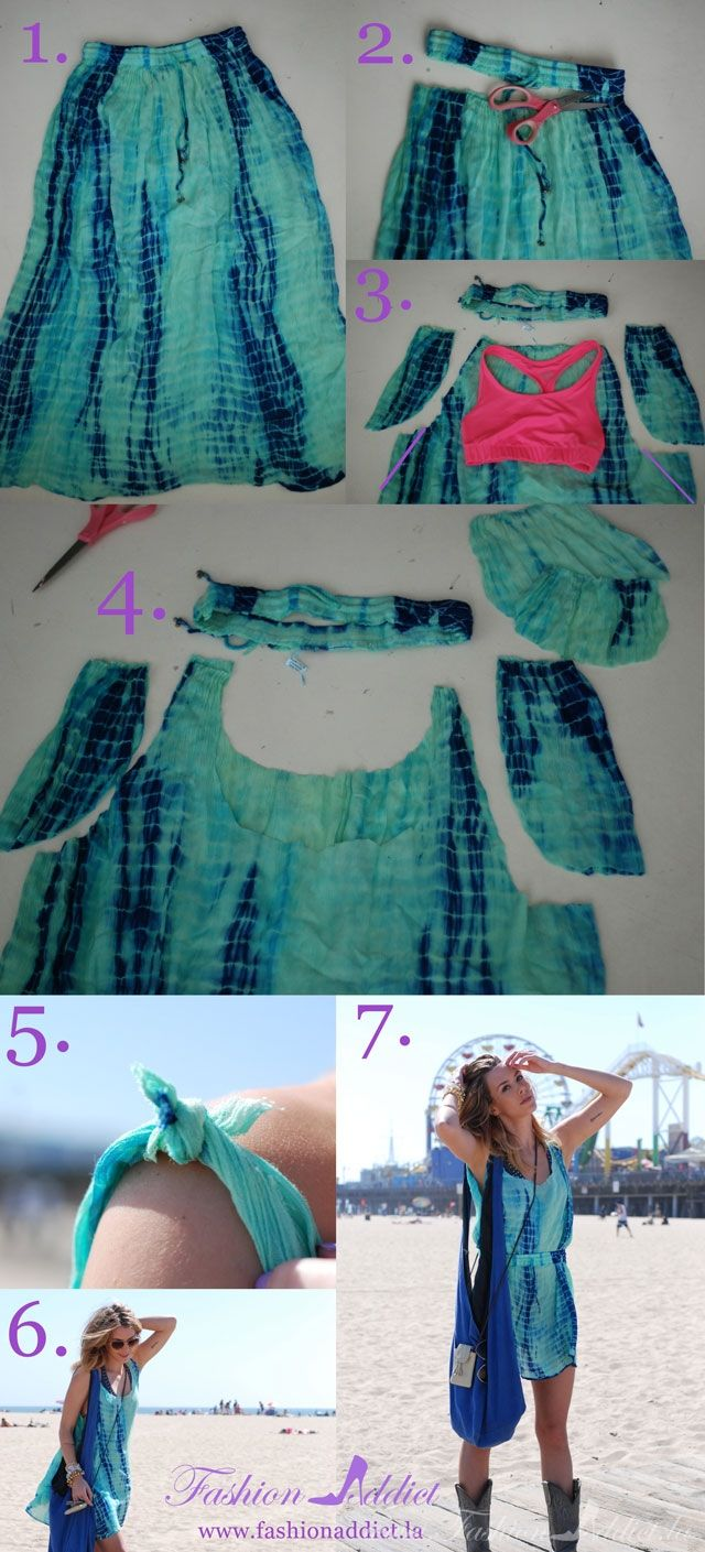 DIY no sew dress| this seriously blew my mind Just finished this with a skirt that had light lining and patchwork ...was pretty easy ..skirt was totally stretched out...but this method saved it for a cover up.