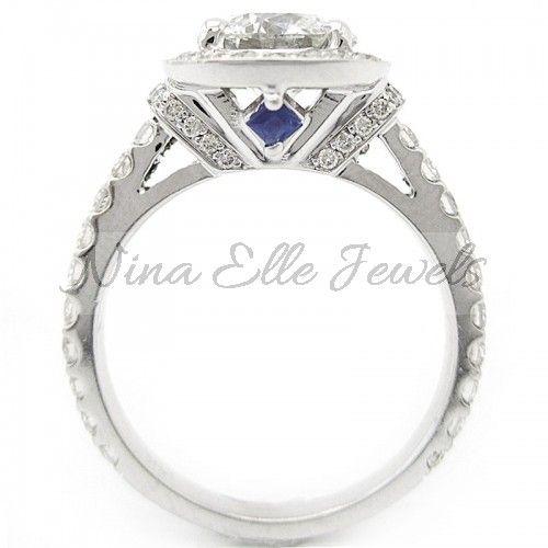 150ct round cut vera wang inspired diamond engagement ring w sapphire accents r189 - Vera Wang Wedding Ring