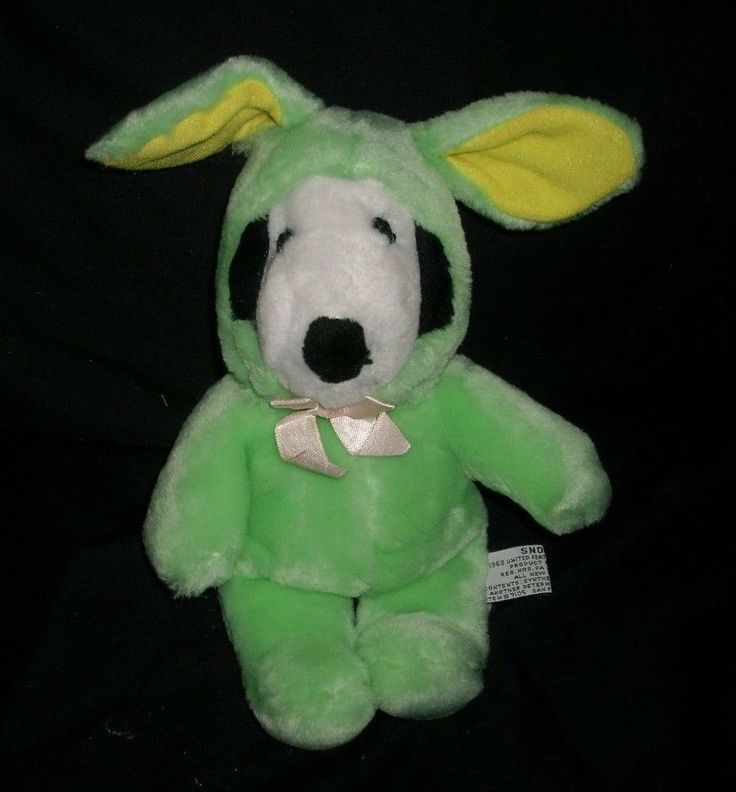"10"" EASTER BUNNY RABBIT SNOOPY GREEN OUTFIT STUFFED ANIMAL PLUSH TOY DOLL SOFT"