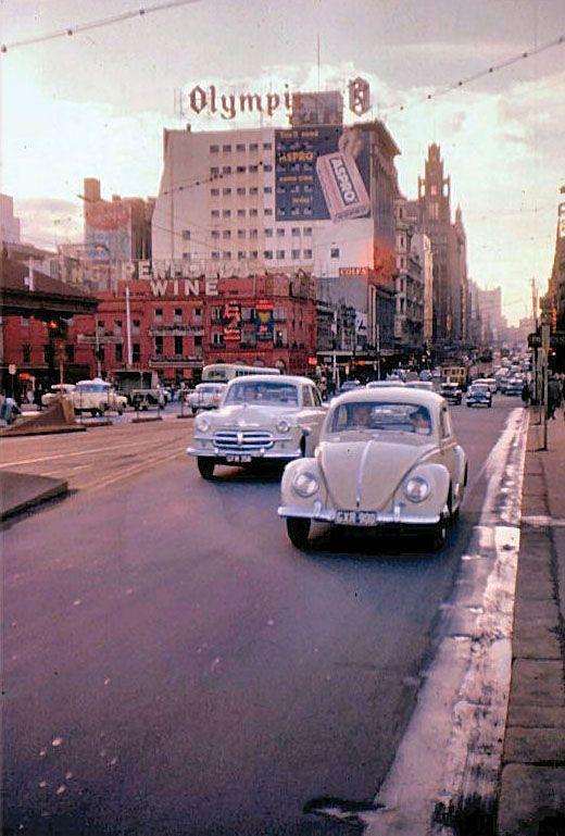 Swanston St from the Princes Bridge, Melbourne Australia - 1959