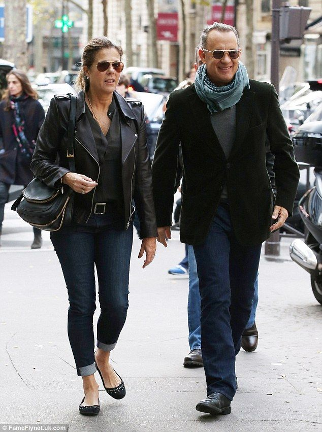 Actor Tom Hanks and his wife Rita Wilson seen strolling in the 16th arrondissement in Paris.