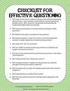 Use this checklist as a teacher when you are doing a lesson.  Also, works great when you are planning questions to ask prior to a lesson!