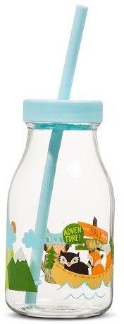 Pillowfort Woodland Animals Decal 14oz Plastic Milk Bottle with Straw