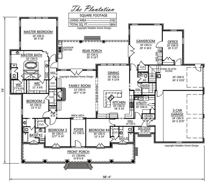 Floorplan onestory the plantation like almost for Acadian home plans