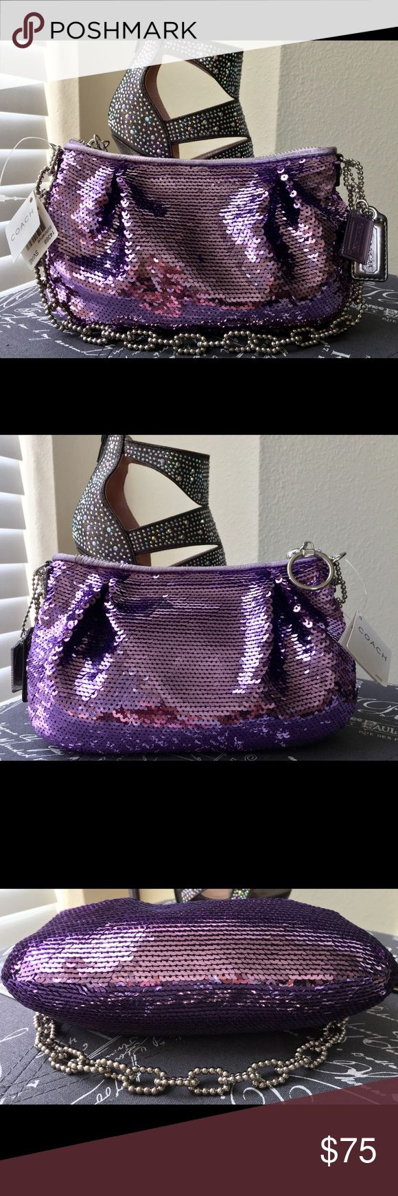 "NWT Coach Poppy Sequin Evening Bag 💜 NWT Coach Poppy Sequin Evening Bag 💜. Bedazzle your wardrobe with this one of a kind bag!!!! Interior 1 organizer pocket and 1 zip compartment. Includes original dust cloth. Strap drop measures 7.5"" 💜💜💜 Coach Bags Mini Bags"