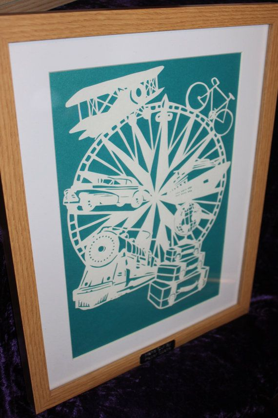 travel inspired papercut framed. Example shown is cut into white hammered 120gsm and backed with teal pearlescent. Design credit to the paper lighthouse