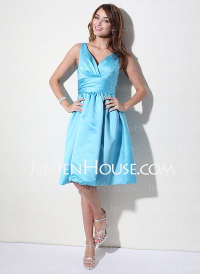 Bridesmaid Dresses - $90.99 - A-Line/Princess V-neck Knee-Length Satin Bridesmaid Dresses With Ruffle (007000941) http://jenjenhouse.com/A-line-Princess-V-neck-Knee-length-Satin-Bridesmaid-Dresses-With-Ruffle-007000941-g941