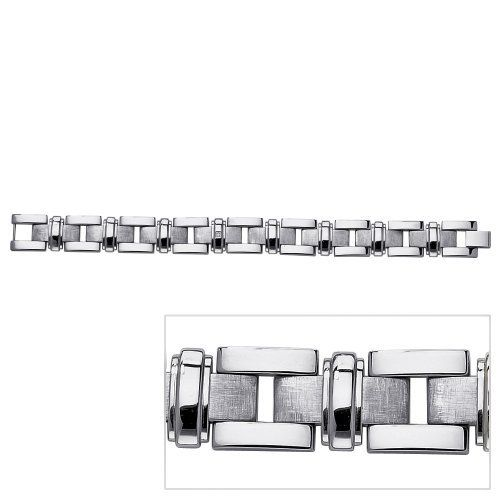 """Men's Diamond Accent Stainless Steel Link Polished and Laser-Cut Bracelet 9"""" Neno Buscotti. $55.98"""