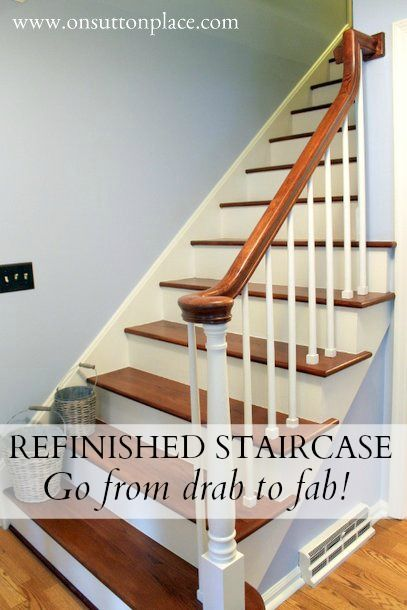 Refinished Staircase - A refinished staircase project that begins with removing old carpet from the stairs and ends with a totally transformed space.