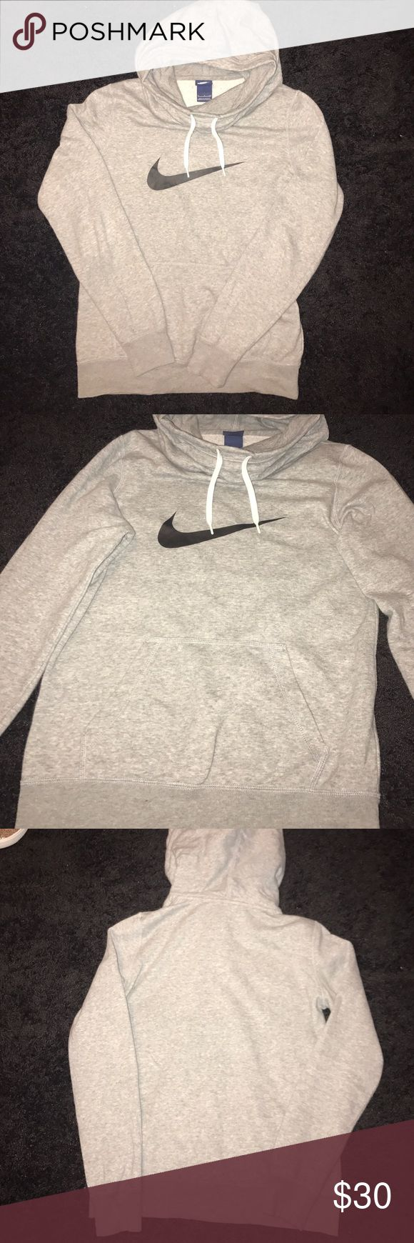 Grey Nike Hoodie TRENDY casual/active wear hoodie! I love the cowl neck look! Large pocket in the front. Drawl strings. NO STAINS. Minimal signs of wear (piling). Feel free to make an offer💎 Nike Tops Sweatshirts & Hoodies