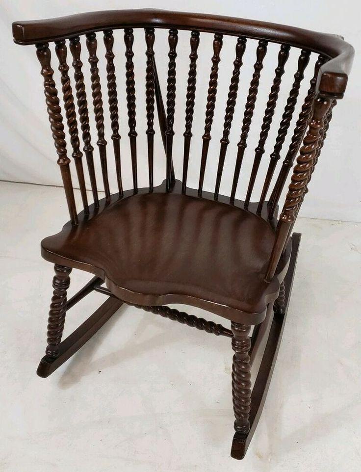 Antique Victorian Dark Oak High Barrel Back Rocking Chair