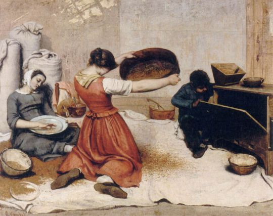 The Grain Sifters, Gustave Courbet, 1854. Source: barcarole