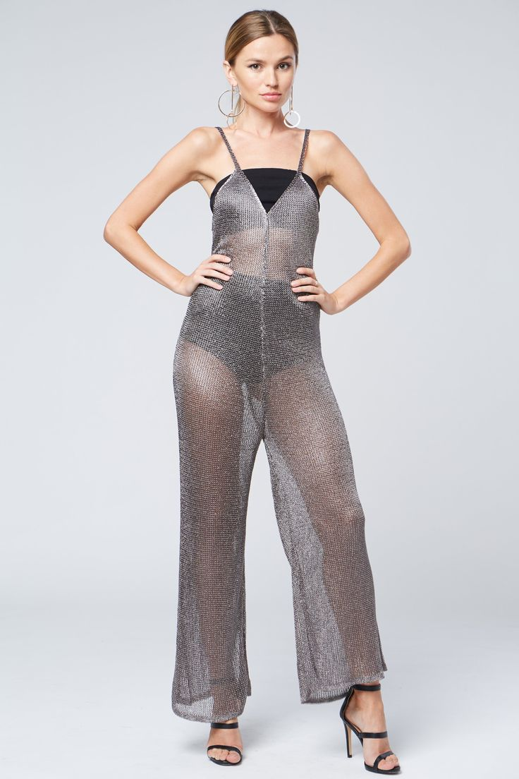 See-Through Metallic Jumpsuit
