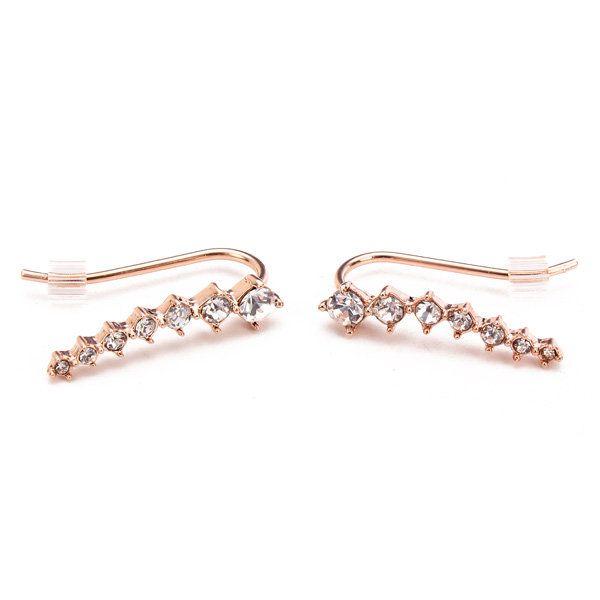 Italina Rhinestone Crystal Ear Cuff Earrings 18K Rose Gold Plated at Banggood