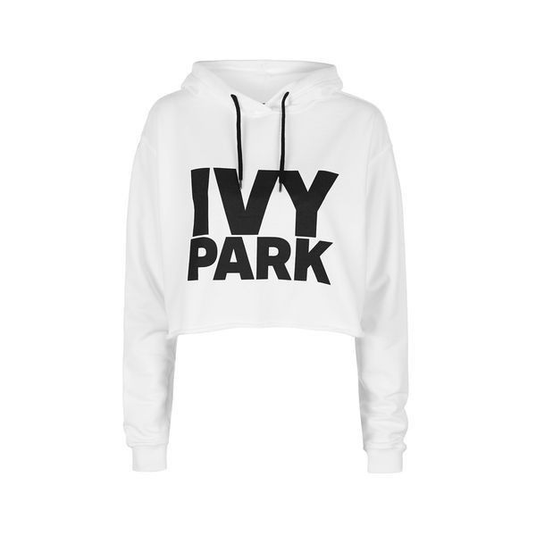 Cropped Logo Detailed Hoodie by Ivy Park (€38) ❤ liked on Polyvore featuring tops, hoodies, white, white hooded sweatshirt, sport hoodies, cropped hoodie, logo hoodies and cropped hooded sweatshirt
