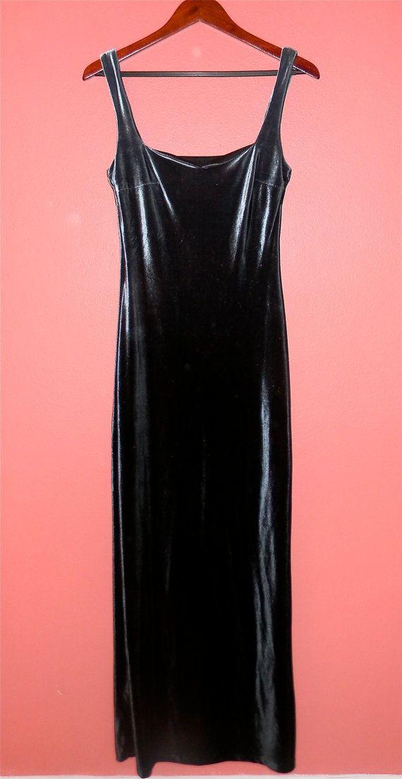 90s prom dress | Vintage Dress 90s Prom Velvet Ombre Grey Blue Grunge Revival Tank