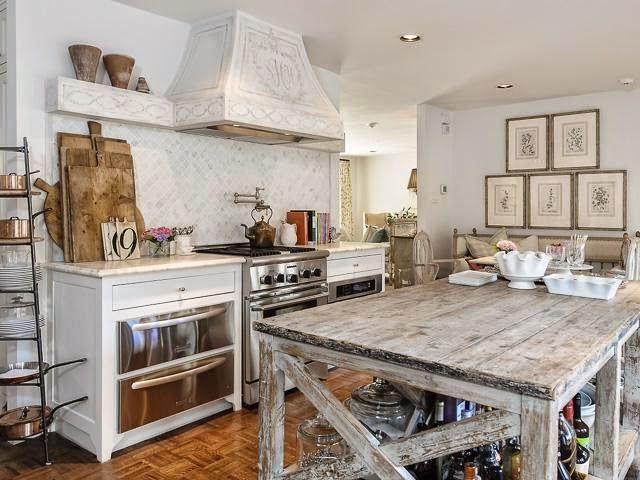 Kitchen Organization:Part 2 - Design Chic - love this distressed wood kitchen island