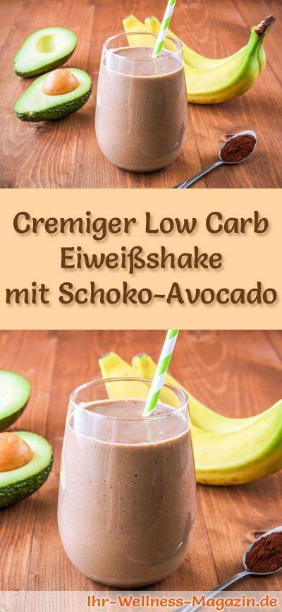 Schoko-Eiweißshake mit Avocado selber machen - ein gesundes Low-Carb-Diät-Rezept für Frühstücks-Smoothies und Proteinshakes zum Abnehmen - ohne Zusatz von Zucker, kalorienarm, gesund ...