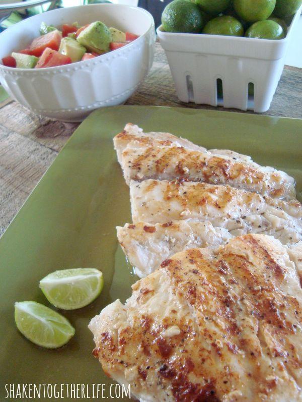 Fresh from Florida Key Lime Butter Grilled Grouper at shakentogetherlife.com #spon