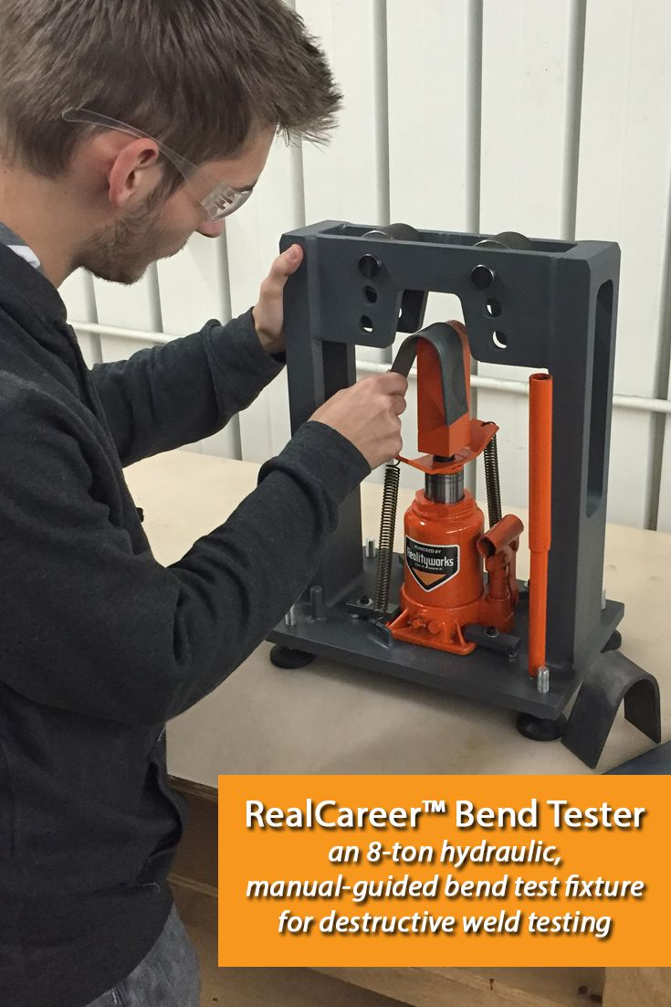One of Realityworks' newest welding education and training tools: The RealCareer™ Bend Tester, an 8-ton hydraulic, manual-guided bend test fixture for destructive weld testing allows for easy-to-use bend testing in a classroom or welding lab. Curriculum, instructor materials included.