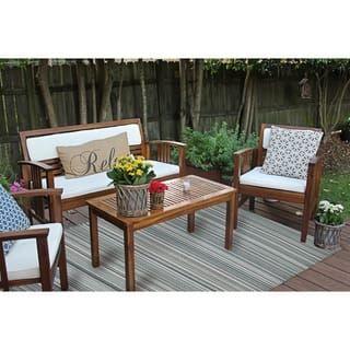 Grey Stripe Indoor/Outdoor Reversible Plastic Area Rug