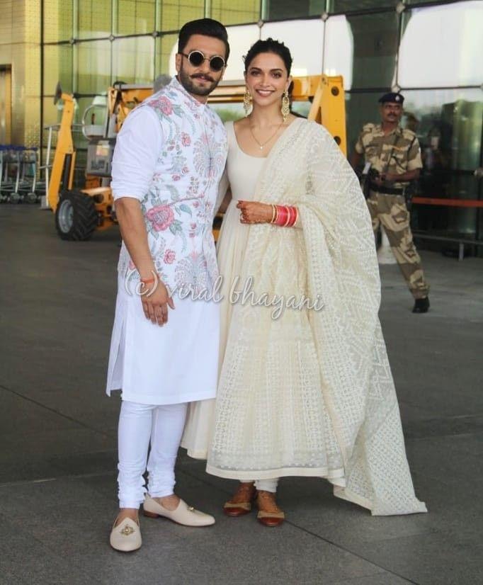 Deepika Padukone With Ranveer Singh Deepveerkishadi Kurta Designs Indian Men Fashion Mens Indian Wear