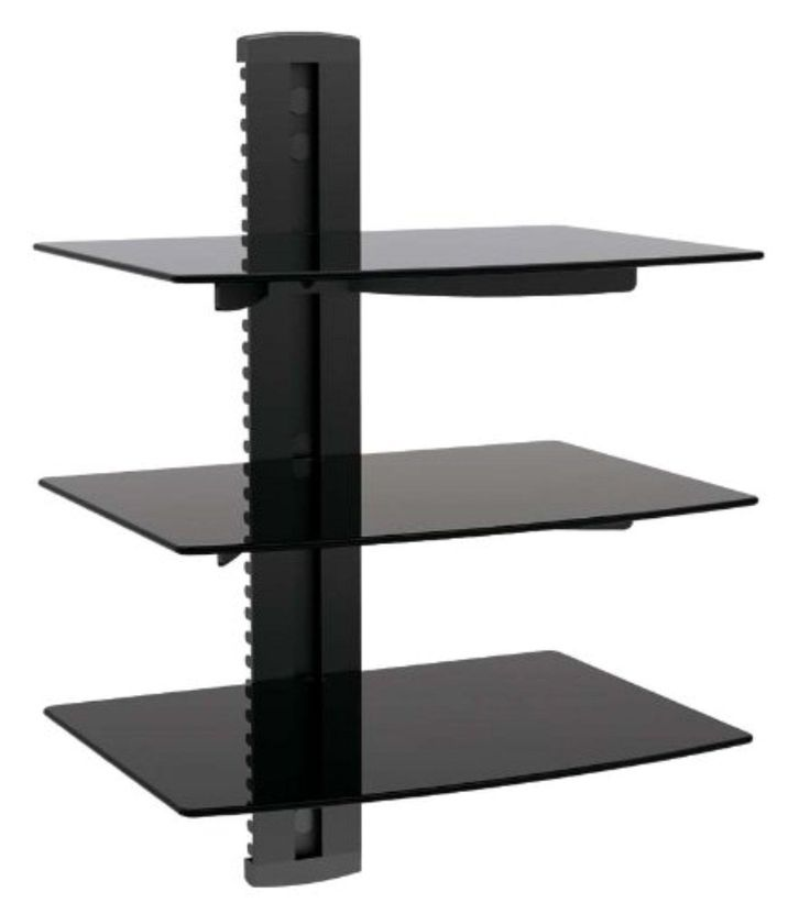 Impact Mounts 3 Tier Triple Glass Shelf Wall Mount for Cable Box Component DVR DVD Game Systems Under Tv Bracket (Triple Shelf) - Brought to you by Avarsha.com