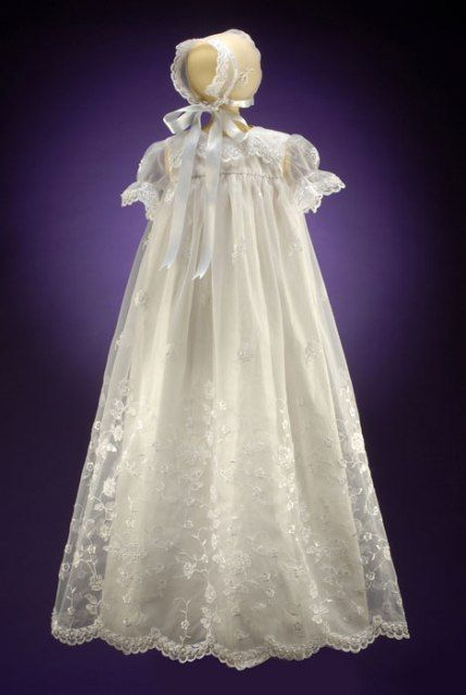 Long Organza Eyelet Lace Christening Gown and Bonnet - 2004 CH