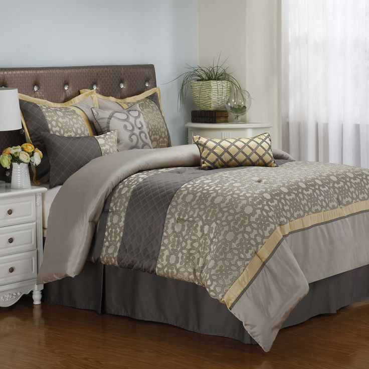 Joseline 7Piece Comforter Set in Grey/Buttercup