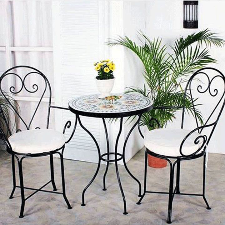 Garden Set Mosaic Table Moroccan 2 Chairs Wrought Iron Indoor