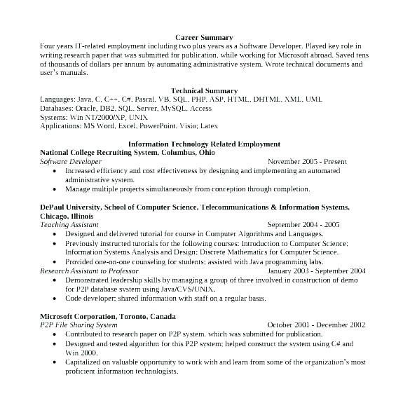 Experienced Engineer Resume Resume Format For Experienced Software Developer Experienced Software Engineer Experien Software Development Resume Resume Software