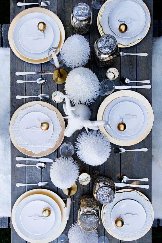 Trendy table setting for stylish Christmas celebration