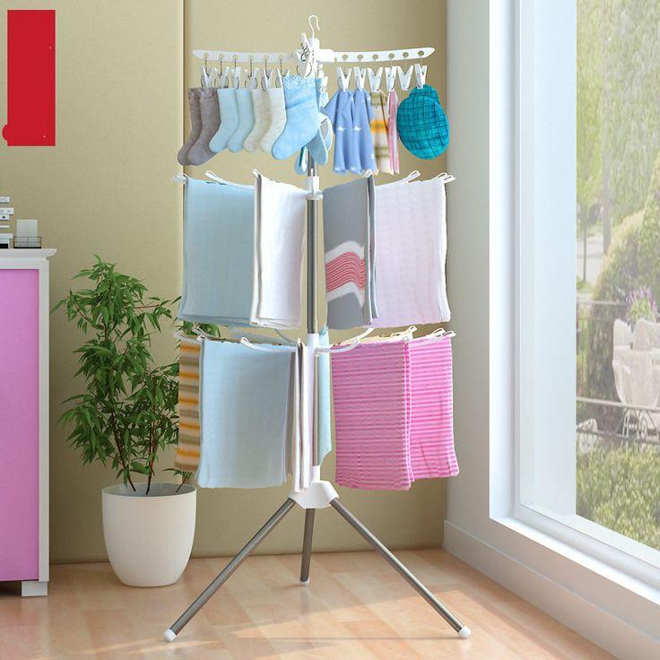 Simple drying racks floor folding down single stand vertical hangers balcony hanging hangers indoor clothes racks