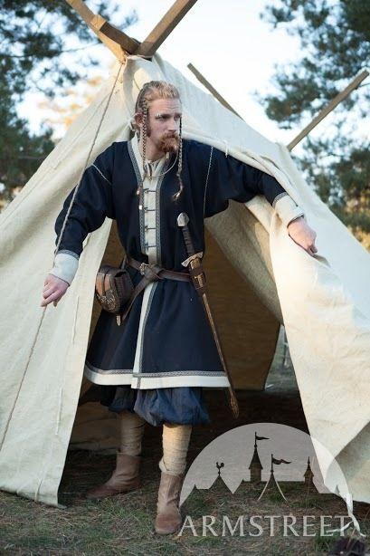 Manteau brodé en laine, Kaftan de Viking «Éric le Jarl»