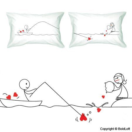 """BoldLoft """"Catch My Heart"""" Couple Pillowcases-Cute Couple Gifts,Romantic Anniversary Gifts,Wedding Gifts for Couple,Valentine's Day Gifts,Cute Birthday Gifts,Gifts for Him,Gifts for Her BoldLoft,http://www.amazon.com/dp/B0015GDF0U/ref=cm_sw_r_pi_dp_yv6Bsb0Q0C60F8E2"""