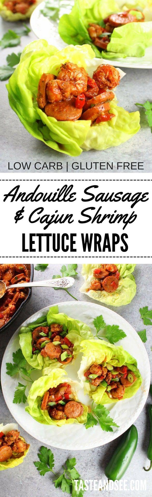 Andouille Sausage and Cajun Shrimp Lettuce Wraps!  Low carb | Gluten-free | http://tasteandsee.com via @h_tasteandsee