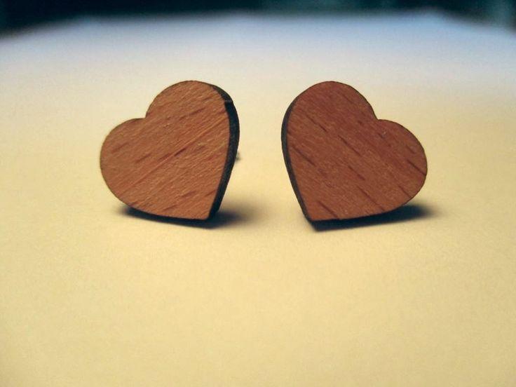 Heart Stud Earrings - Wood | Trade Me