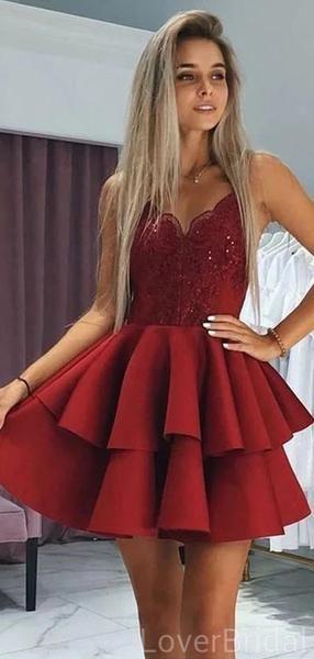 Spaghetti Straps Dark Red Short Homecoming Dresses Online, Cheap Short Prom Dresses, CM842
