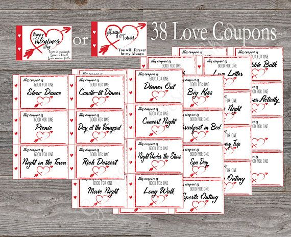 Love coupon book. Valentine Coupon Book. 38 coupons Instant