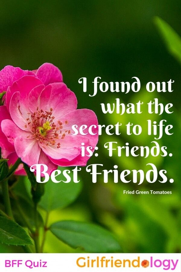 The secret to life is: Friends. BEST FRIENDS. Great movie friendship quote from Fried Green Tomatoes! Plus BFF Quiz answers