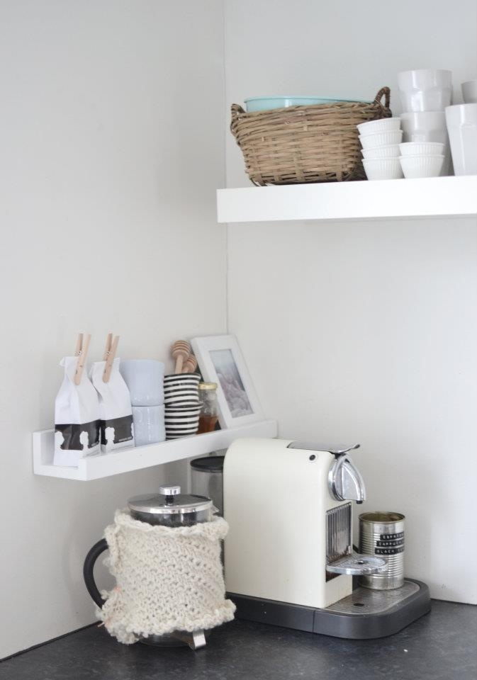 picture ledge for coffee accessories - I bet we could make a station like this for allergy-safe cooking