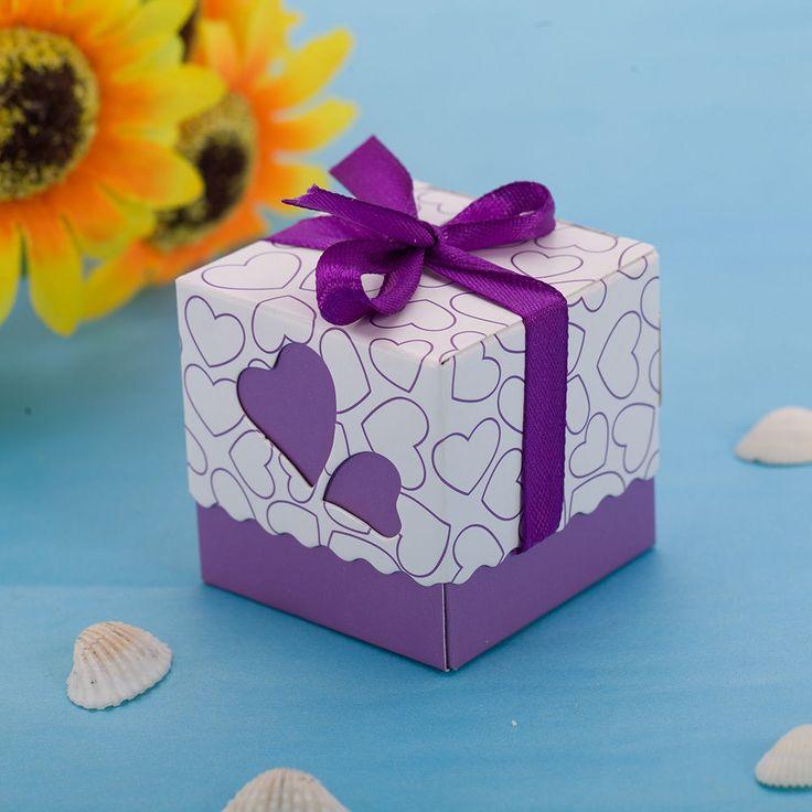100 Laser Cut Heart Wedding Oniere Candy Bo Chocolate Packaging Purple