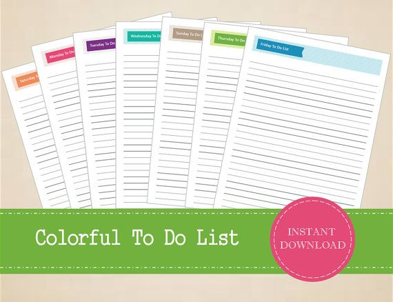 Colorful Daily To Do List  Printable and by MBucherConsulting