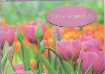 Voor je verjaardag!      Verjaardagskaart met roze tulpen